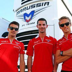 Jules Bianchi, Alexander Rossi y Max Chilton en Hungaroring
