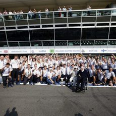 Celebración en Williams por el podio en Italia