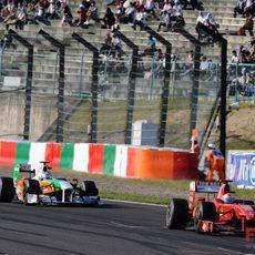 Fisichella seguido de un Force India
