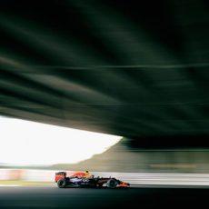 Sebastian Vettel poco antes de llegar a la horquilla de Suzuka