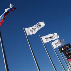 Banderas en el circuito ruso de Sochi