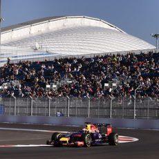 Sebastian Vettel buscando la mejor configuración posible