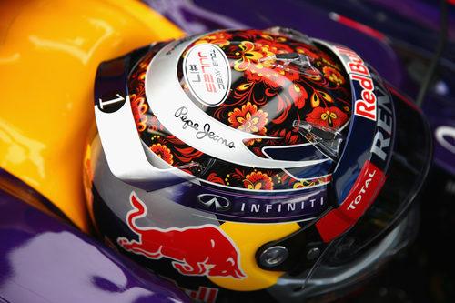 Detalle del casco de Sebastian Vettel en Sochi