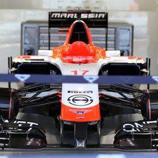El coche de Jules Binachi descansa en el 'box' de Marussia