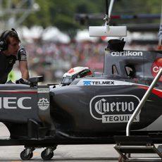 Adrian Sutil no pudo volver a entrar en la Q3