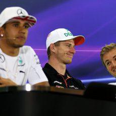 Lewis Hamilton en la rueda de prensa de los pilotos