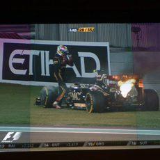 Incendio de Maldonado visto desde el muro del equipo Lotus