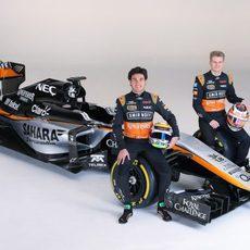 El VJM08, junto a Nico Hülkenberg y Sergio Pérez