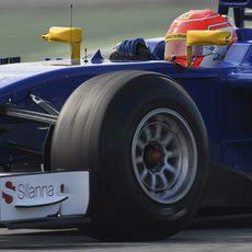 Felipe Nasr en plena simulación de carrera