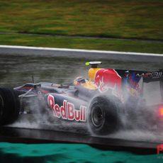 Vettel sobre mojado