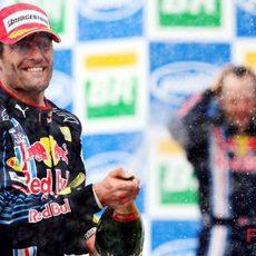 Webber con el champán