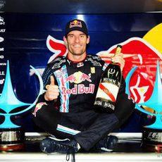 Webber rodeado de trofeos