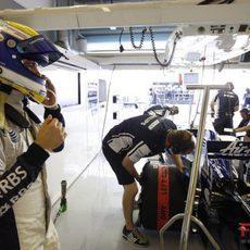 Rosberg en boxes