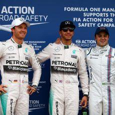 Lewis Hamilton, Nico Rosberg y Felipe Massa tras la clasificación
