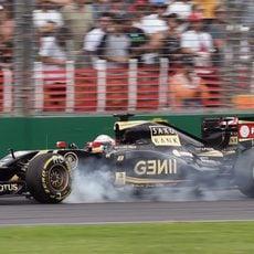 Pasada de frenada de Romain Grosjean con el E23
