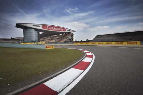 La primera y característica curva del Circuito de Shanghai