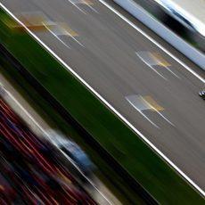 Marcus Ericsson en la recta principal del Circuito de Shanghai