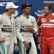 Hamilton, Rosberg y Vettel comentan la clasificación