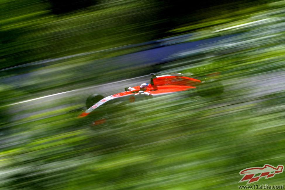 Will Stevens rueda con el Manor por el trazado Gilles Villeneuve