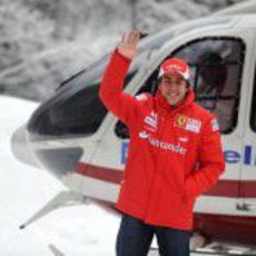 Fernando Alonso con Ferrari en Madonna di Campiglio