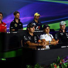 Los protagonistas de la rueda de prensa de la FIA del jueves
