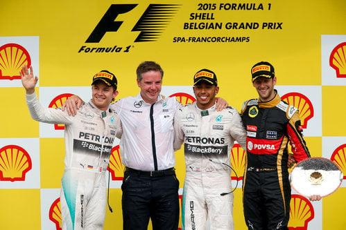 Hamilton, Rosberg y Grosjean en el podio