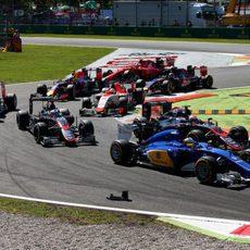 Marcus Ericsson a su paso por la primera chicane