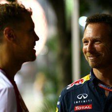 Sebastian Vettel con Christian Horner
