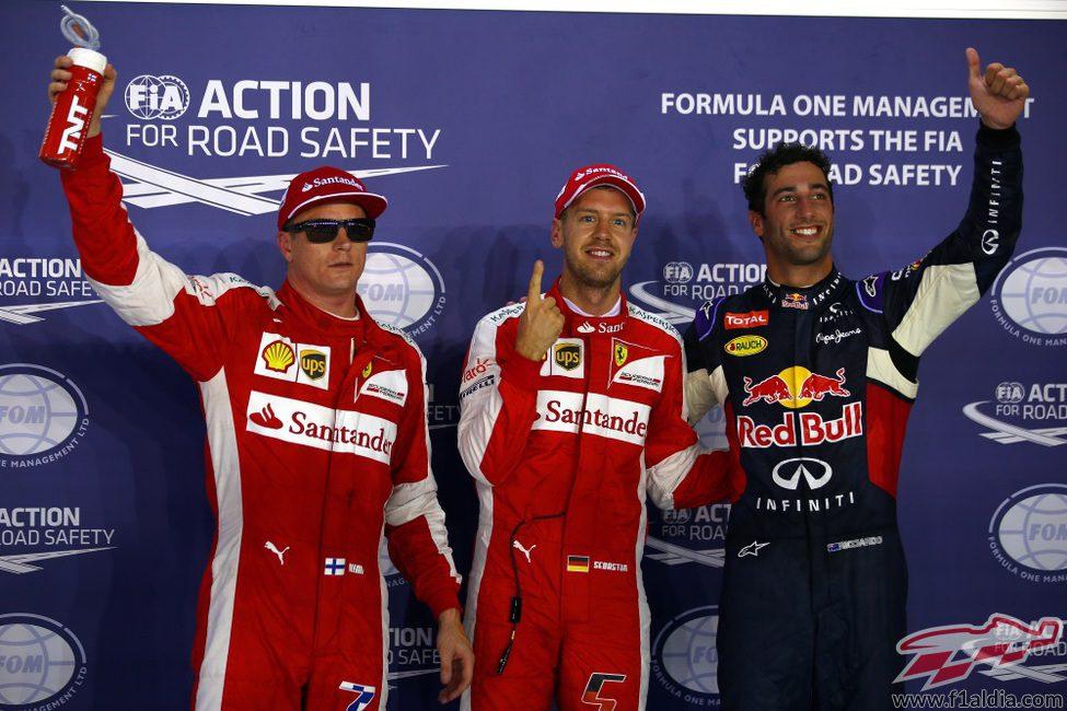 Vettel, Ricciardo y Räikkönen, los más rápidos en Singapur