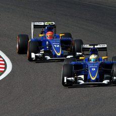 Los dos Sauber rodando en los puntos