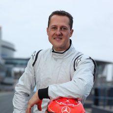 Michael Schumacher antes de su test de GP2