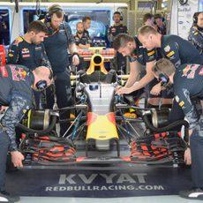 Trabajo del equipo Red Bull en el RB12