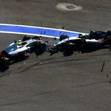 Encontronazo entre Esteban Gutiérrez y Nico Hülkenberg