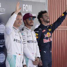 Las cámaras captan la alegría de Hamilton, Rosberg y Ricciardo