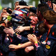 Alegría en Red Bull por la victoria de Max Verstappen