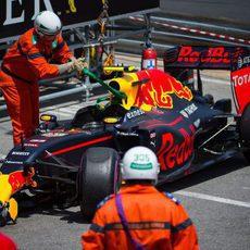 Coche de Max Verstappen tras el accidente