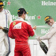 Celebración de Hamilton, Vettel y Bottas en Canadá