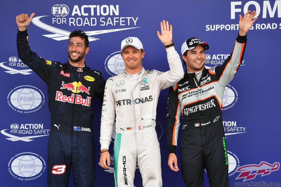 Rosberg, Ricciardo y Pérez, los más rápidos en Bakú