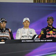 Rueda de prensa de Rosberg, Ricciardo y Pérez en Bakú