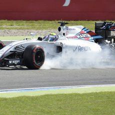 Pasada de frenada de Felipe Massa en Alemania