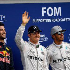 Nico Rosberg, Lewis Hamilton y Daniel Ricciardo triunfan