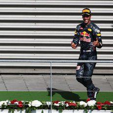 Sonrisa de Daniel Ricciardo en el podio de Spa