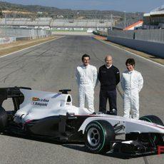 Peter Sauber con sus dos pilotos