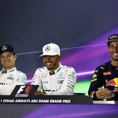 Rueda de prensa con Hamilton, Rosberg y Ricciardo
