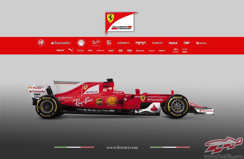 Lateral derecho del Ferrari SF70H