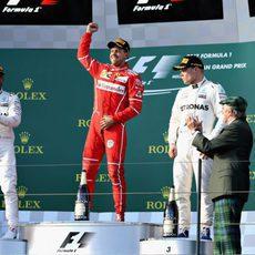 Vettel, Hamilton y Bottas, el podio del GP de Australia 2017