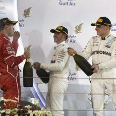 Celebración de Vettel, Hamilton y Bottas en el podio