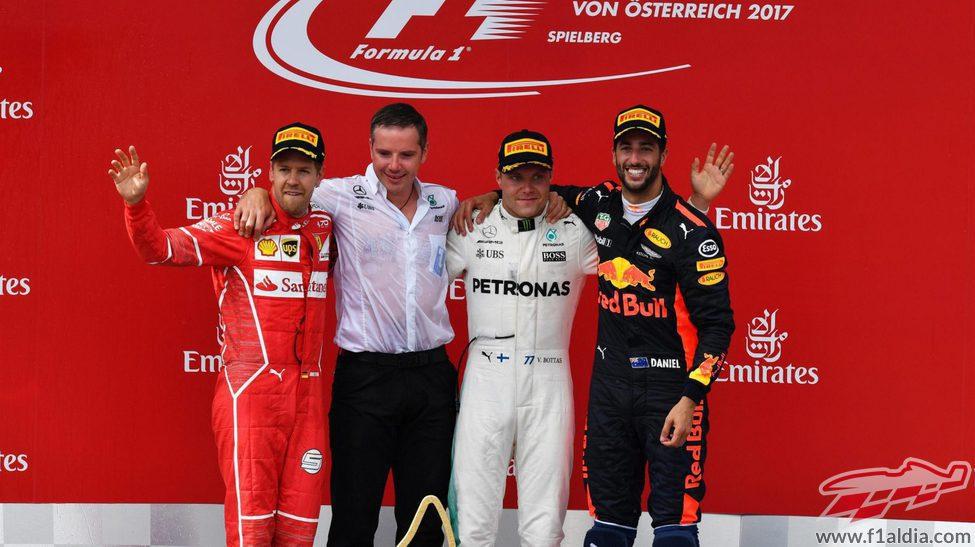Bottas, Vettel y Ricciardo en el podio de Austria