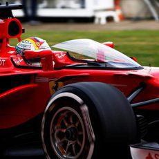 Sebastian Vettel prueba el 'Shield'
