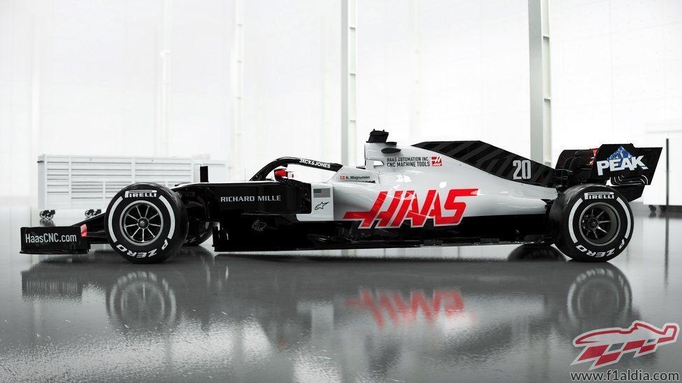 Lateral del monoplaza de Haas: VF-20